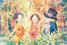 SUMMER MEMORIES by SiriusPlanet.deviantart.com  La saga de las memorias de Luffy y sus hermanos fue una de las más emotivas, Fue triste la muerte de Sabo pero casi estoy seguro que lo veremos después.  De izquierda a derecha: Portgas D. Ace, Monkey D. Luffy y Sabo.