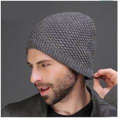 Handsome plain beanie hat for men soft wool knit hats autumn