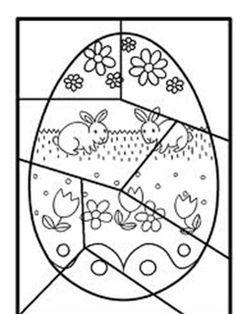 paasei puzzel + kleurplaat