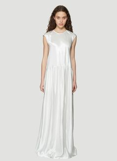 Sies Marjan white Washed Satin Sleeveless Full length Dress in viscose, made in United States. Neck Collar, Pop Fashion, Clothes For Sale, Ready To Wear, White Dress, How To Wear, Color, Satin Finish, Dresses