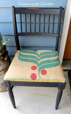 I used Rustoleum Black Chalkboard paint, a stain pen, sand paper, paste wax and a coffee sack for this garage sale chair makeover.
