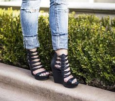 These bold strappy wedges are ready for a night out!
