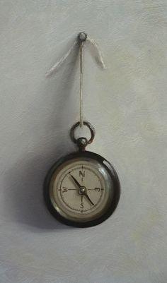 Original Oil Painting - Compass - Contemporary Still Life Art - Nelson