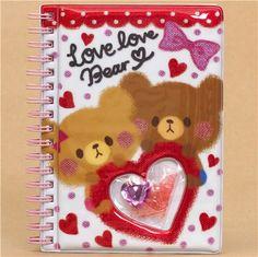white-red bears glitter ring binder sticker album with heart
