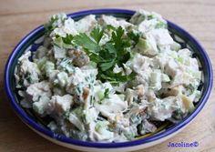 Gezond leven van Jacoline: Makkelijke kip salade met bleekselderij en Griekse yoghurt. Pureed Food Recipes, Salad Recipes, Healthy Snacks, Healthy Eating, Healthy Recipes, Good Food, Yummy Food, Cold Meals, Clean Recipes