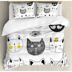 Ambesonne Cat Stylish Cats with Mouthache Duvet Cover Set Size: King Duvet Sets, Duvet Cover Sets, Bed Sets, Bedroom Themes, Bedroom Decor, Bedroom Ideas, Bedrooms, Cat Bedroom, Ruffle Bedding