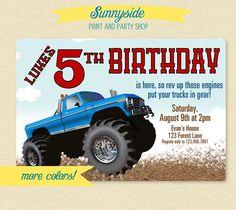 Monster Pickup Truck Boys Birthday Invitation  - Printable Invite