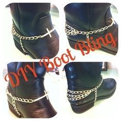 DIY to add some sparkle to my all black high boots.a chain necklace, a cross bracelet, a few adjustments and voila. Jump Ring Jewelry, Boot Jewelry, Anklet Jewelry, Leather Jewelry, Anklets, Biker Accessories, Boot Bracelet, Black High Boots, Boho Boots