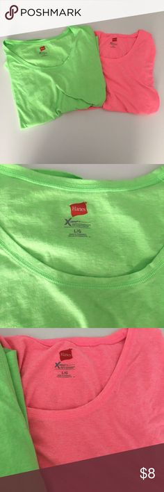 2 Hanes Large Short Sleeved Women's Shirts In good condition See photos  if you have any questions feel free to ask. Hanes Tops Tees - Short Sleeve