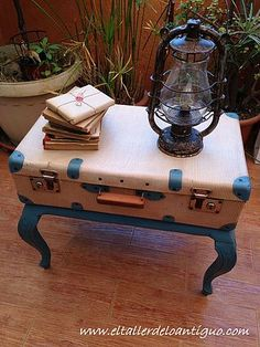 Carry-On Closet – Suitcase with built in shelves – Best Fashion Advice of All Time Refurbished Furniture, Repurposed Furniture, Shabby Chic Furniture, New Furniture, Furniture Projects, Furniture Makeover, Painted Furniture, Suitcase Decor, Suitcase Table