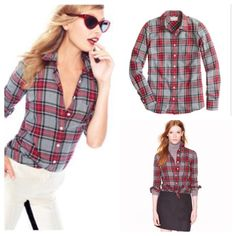 J. Crew grey tartan boy shirt Our signature take on the boyfriend shirt, shaped with seams at the bust for a subtly feminine fit and crafted in a cool grey tartan. Cotton. Long sleeves. Chest pocket. Machine wash. Retail.  Very minor wash wear as pictured J. Crew Tops