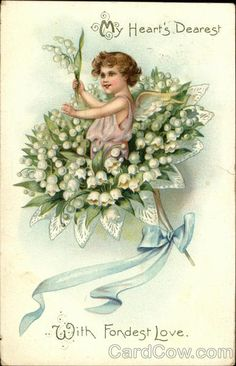 Cupid standing in a Lily of the Valley Bouquet ~ 'My heart's dearest - with fondest love', greeting postcard.