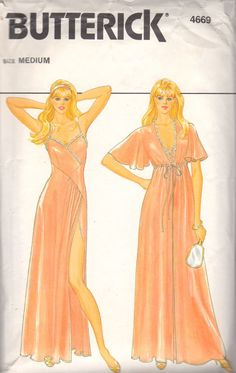 Butterick 4669 1980s Misses Nightgown Negligee and Dressing Gown Robe womens vintage sewing pattern by mbchills