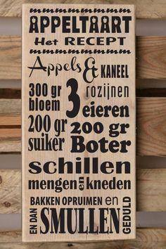 Appeltaart recept tekstbord verkrijgbaar op www.versierendoejezo.nl