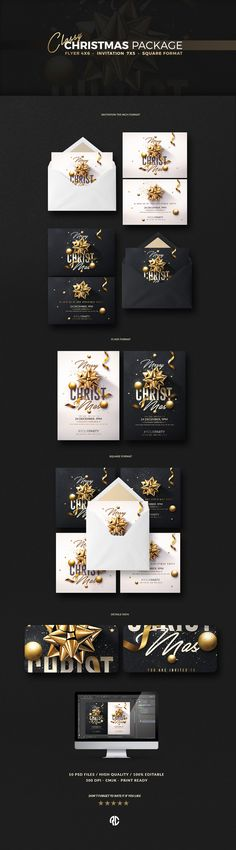 Christmas Package | Psd templates, Psd files Available • All Elements Included • Psd Files • ( DIN A6 - 4x6 inches with bleeds ) • 300dpi CMYK Print Ready. Flyer / Affiche / Poster . Concept By @romecreation