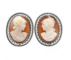 Hand Carved Shell Cameo & Sterling Filigree Earrings