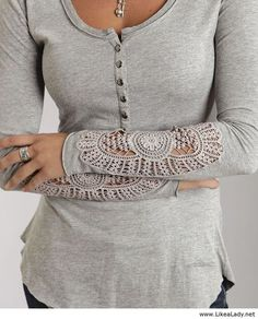 Lace detailed henley - how cute!