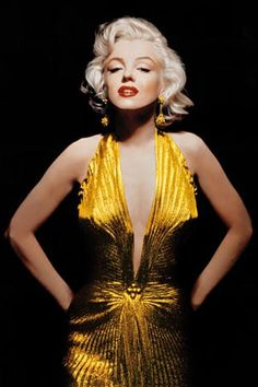 Marilyn Monroe in a gold dress.