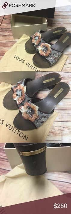 LOUIS VUITTON RAFFIA WOODEN SLIDES 39 Here's the scoop on these beauties 😊😊 they are missing a couple rhinestones which were removed so you won't notice their is also a nick of wood missing on the back as shown could be easily touched up feel free to ask any other questions 😊😊 Louis Vuitton Shoes Mules & Clogs