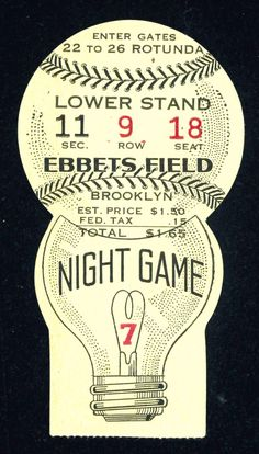 Brooklyn Dodgers baseball ticket