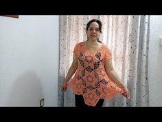 (9) Bluson Lily Tejido con hexágonos de hojas parte 1 de 2 - YouTube