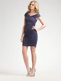 Nicole Miller Off-The-Shoulder Ruched Dress on shopstyle.com.au