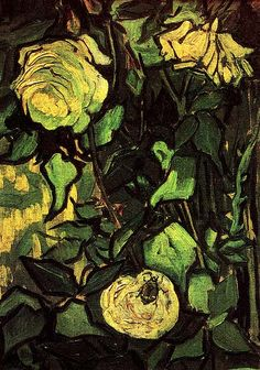 Vincent van Gogh. Roses and Beetle. Oil on canvas. Saint-Remy: April-May, 1890. Amsterdam: Van Gogh Museum.