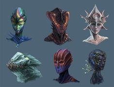 Alien Head Concepts 2 by Phill-Art.deviantart.com on @DeviantArt