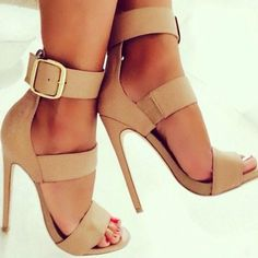 Beige Strappy Heels | You can find this at => http://feedproxy.google.com/~r/amazingoutfits/~3/F93EQBgzW6Y/photo.php