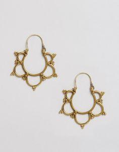 Reclaimed Vintage Brass Cut Out Hoop Earrings