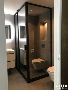 douchewand en taatsdeur amsterdam Small Toilet Room, Small Bathroom With Shower, Bathroom Design Small, Apartment Interior Design, Interior Design Living Room, Wc Design, Outdoor Bathrooms, Decoration, Ideas