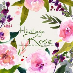 Watercolour Floral Clipart: Pastel Roses by SmallHouseBigPony