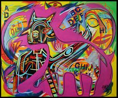 "20"" Graffiti Original Abstract MODERN ART painting by RAEART ""Pinky"" #Surrealism"