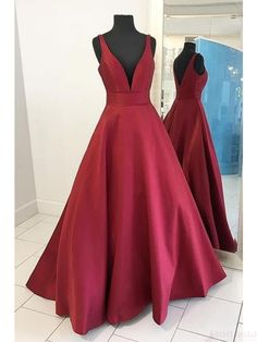 red long prom dresses,V-neck evening dresses #promdresses #SIMIBridal