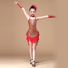 8-16 Years Children Dance Outfit with Sleeves Sequins Latin Dresses for Girls