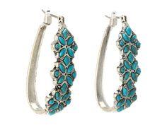 Lucky Brand Sahara Trails Turquoise Set Stone Hoop Earrings