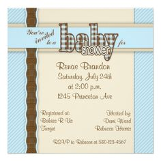 Baby Shower in Plaid Custom Invites