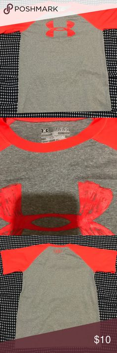 Short sleeve Under Armour Short sleeve under armor youth large t shirt. Great condition! It's a neon pink and grey color. Under Armour Shirts & Tops Tees - Short Sleeve