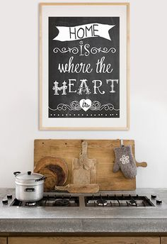 Home is where the Heart is   Typography print on by GreenNest, $25.00