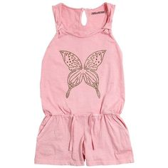 Zadig&voltaire Kids-girls Butterfly Stud Cotton Jersey Romper (630 NOK) ❤ liked on Polyvore featuring pink