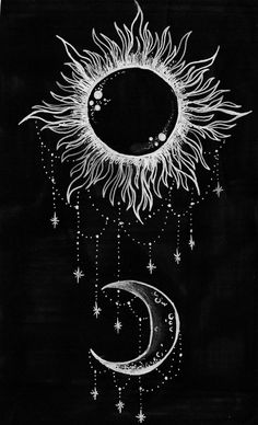 drawing art hippie boho moon stars sun Spiritual