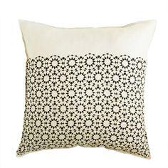 mosaic star linen pillow cover black
