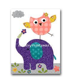 Elephant Nursery Digital Art Printable Print by nataeradownload