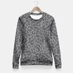 """Black and silver zentangles"" Fitted Waist Sweater by Savousepate on Live Heroes #sweatshirt #apparel #clothing #pattern #graphic #modern #bling #abstract #doodles #zentangles #scrolls #spirals #arabesques #black #grey #gray #silver"