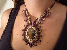 Fluorite Purple Necklace Macrame Handmade by PapachoCreations, $60.00
