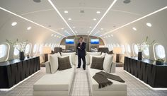 Stephen Vella reconfigures commercial aircraft into airborne luxury suites for billionaires and heads of state.