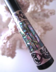"Timberstone Turnings The ""Princess Eve"" Hair Stick Featuring Gabon Ebony Inlaid with Natural Paua Shells and Silver"