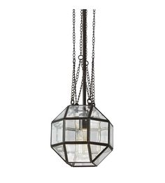 Lazlo Small One Light Pendant in Heirloom Bronze with Clear Beveled Glass