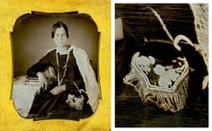 Daguerreotype. Late 1840s to early 1850s. The subject is holding an Iroquois beaded bag that could have a metal frame at the top.