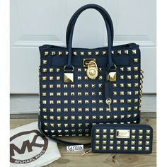ONLY $450 + SHIPPING ON ⓂERCARI TODAY!!! Authentic Michael Kors Pyramid Studded Hamilton set Gold pyramid studs, NAVY BLUE  (please see my individual listings for more details of the bag & wallet conditions)  Special Sunday Sale on this set today, on my Ⓜ page Please feel free to ask any questions  Michael Kors Bags Totes